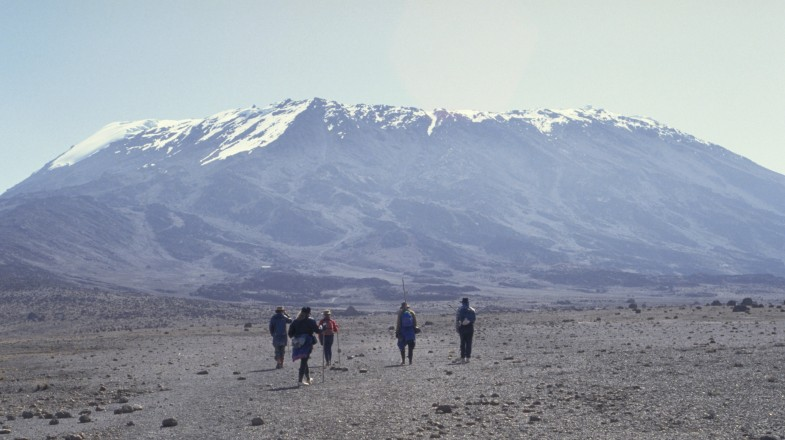 Tourists trekking towards Mount Kilimanjaro