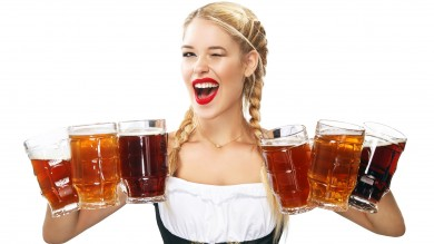 A waitress wearing a traditional Bavarian dress in the Oktoberfest