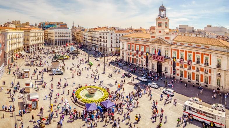 Aerial view of Puerta del Sol