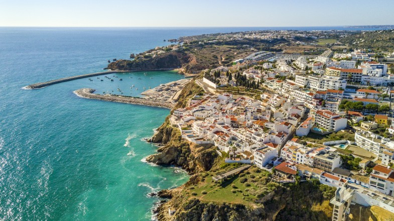 Albufeira, a coastal city in the southern region of Portugal. Formerly a fishing village, now has become a popular holiday destination, with stunning beaches.