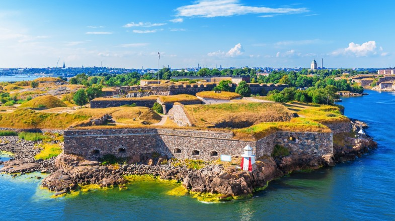 An aerial view of Suomenlinna Fortress in Helsinki