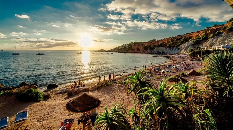 The sun setting down at the beautiful Balearic Islands, an archipelago in Eastern Spain.