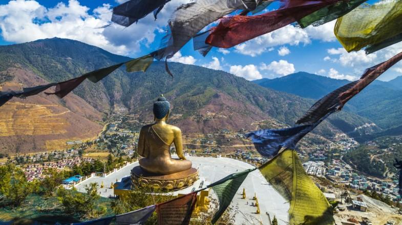 The Buddha Dordenma statue  located atop a hill in Kuenselphodrang Nature Park, Bhutan.