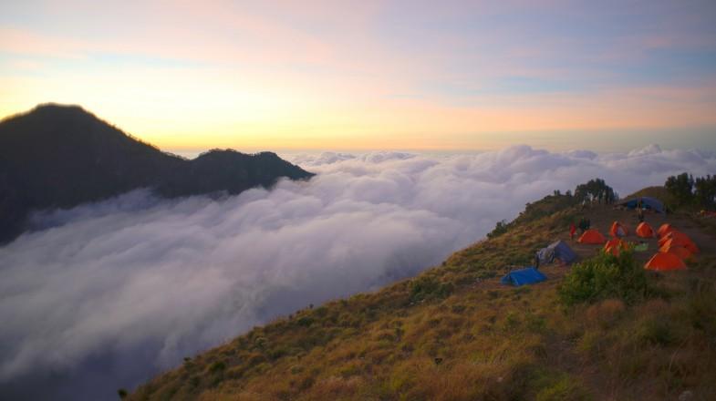 Campers on Mount Rinjani