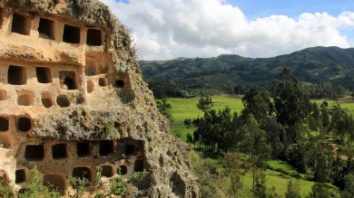 Ancient Inca burial site at Chachapoyas in Northern Peru