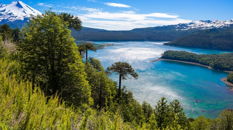 The Lake District in Chile is bathed in vivid green and peppered with brilliant, turquoise lakes, with gorgeous backdrops of snow-capped mountains.