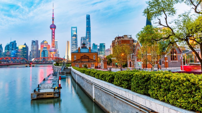 The colonial buildings, Shanghai Pudong and Huangpu River at evening
