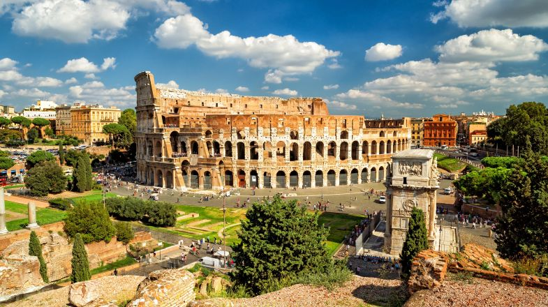 A Panoramic view of the Colosseum in Rome, Italy.