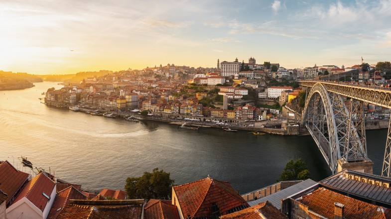An aerial view of the town Porto in Portugal.