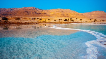 The Dead Sea is a salt lake in Jordan bordered to the east of Israel.
