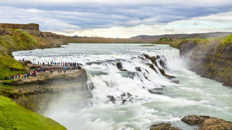 Golden Circle Tour allows a trip to the Gullfoss waterfall
