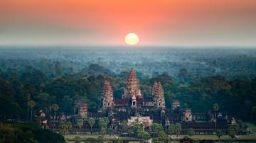The view of a beautiful sunrise at Angkor Wat