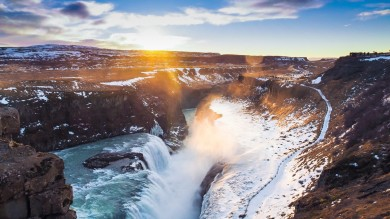Gullfoss waterfall in Iceland is an iconic waterfall known by many