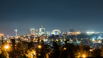 Kigali city skyline during the quiet hours of the night