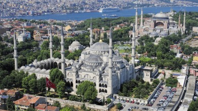 The famous Blue Mosque in Istanbul has six minarets and is a focal point of the city.