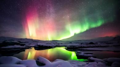 Aurora Borealis over Jokulsarlon glacier lagoon in Iceland