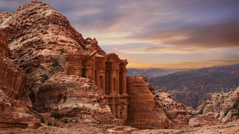 Petra is an important historic part of Jordan with magnificent carved tombs and monuments.