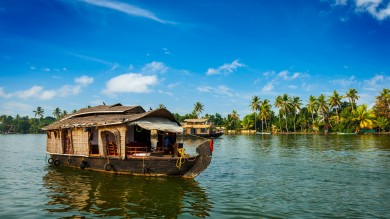 A houseboat floating on one of Kerala's backwaters