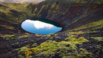 The Kerid Crater is one of the popular tourist spots in Iceland
