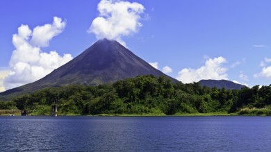 Lake Arenal lies close to the Arenal Volcano in Costa Rica.