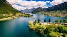 An ariel view of the beautiful lake.