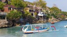 Lembongan island can be reached by a boat ride from Bali.