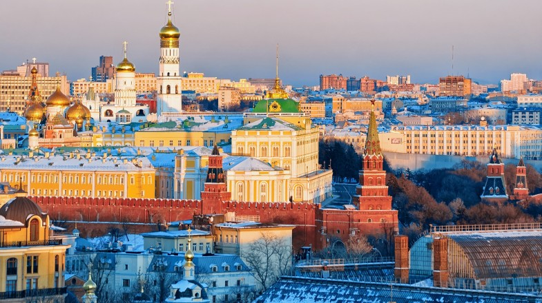 View of colourful buildings on a sunny day in Moscow
