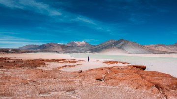 a person stands next to a water body in an arid landscape