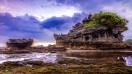 The Pura Tanah Lot temple in Bali is only accessible during low tide.