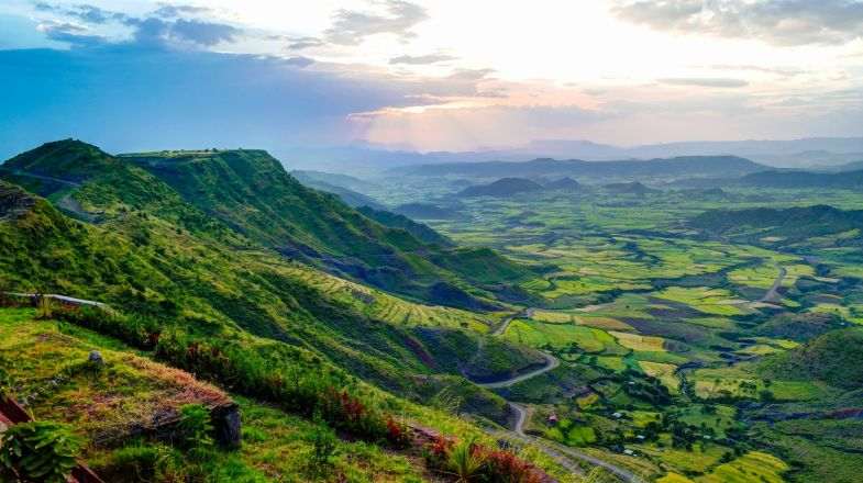 Ethiopia, a rugged, landlocked country split by the Great Rift Valley