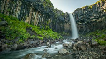 Skaftafell National Park's highlight is the Svartifoss waterfall