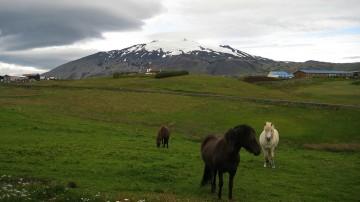 Snæfellsjökull volcano is a glacier-capped volcano in Iceland