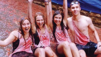 The streets run red with rivers of tomato juice at the annual La Tomatina festival in Spain.