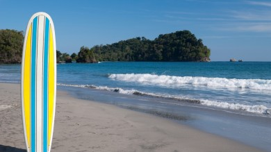 Surfing in Costa Rica is a popular activity with great coastal waves.