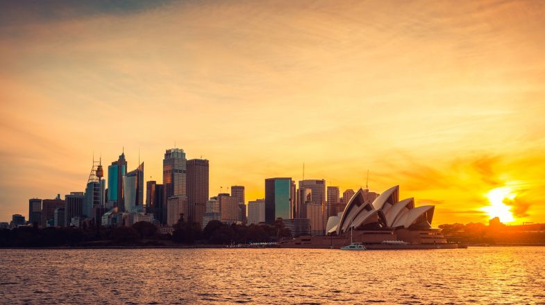The sun sets overs Sydney. A magnificent view of the city.