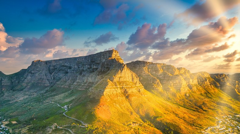 Golden hour during the sunset creates a beautiful lighting for the Table Mountain, South Africa.