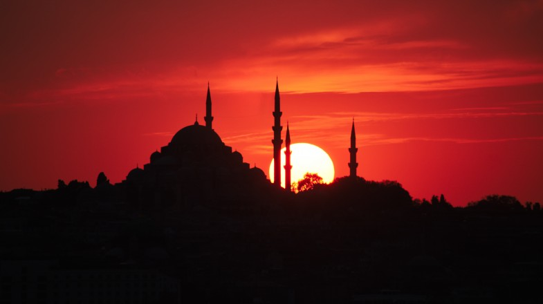 The silhouette of Sultan Ahmed Mosque, as seen from Istanbul, Turkey.