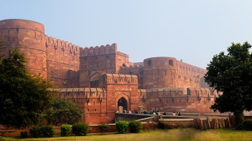 "Made of red sandstone from Rajasthan, hence nicknamed ""The Red Fort"", the fort is a grand depiction of Mughal power and prowess."