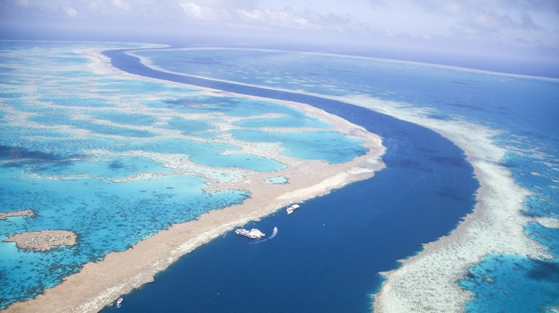 Aerial view of the tidal channel between the Great Barrier Reef