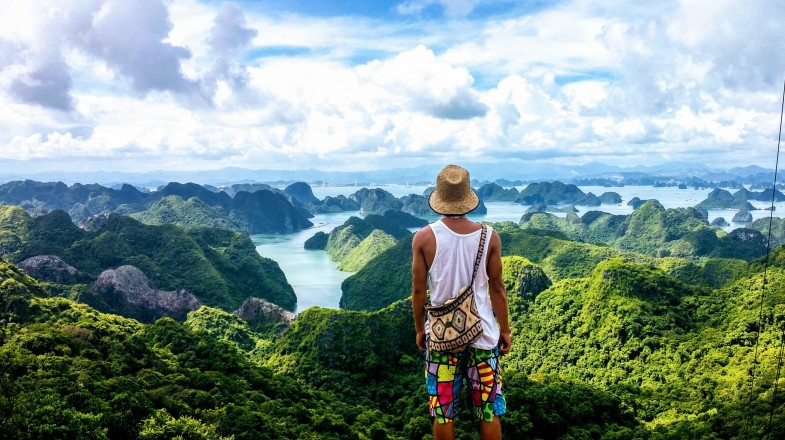 A traveler enjoys the view of Vietnam