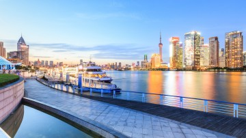A cruise boat on stand-by at the port in Shanghai