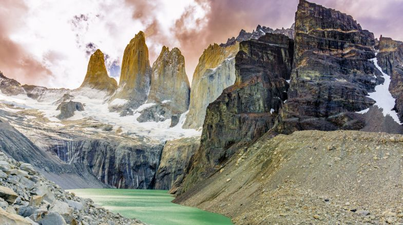 The three rock towers that gives the trek its name is the highlight of the Torres del Paine W trek.