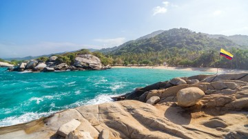 Tropical beach in Tayrona National Park in Colombia .