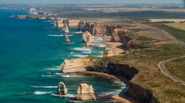 Great Ocean Road and Twelve Apostles-aerial view.