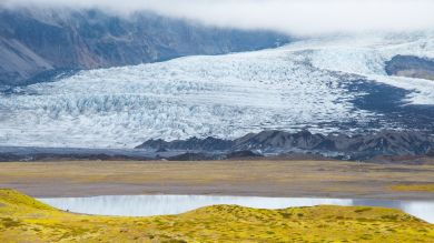 A scenic view of Vatnajokull national park in Iceland.