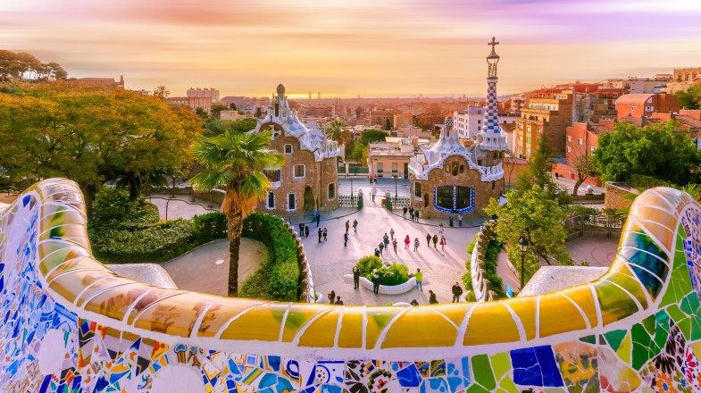 View of Park Guell in Barcelona
