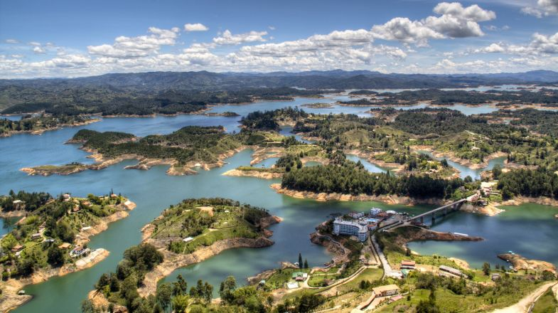 Guatape, located on the shores of the Embalse Guatape