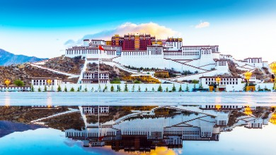 Potala Palace as seen from across the Potala Palace square on a traveler's Tibet visit