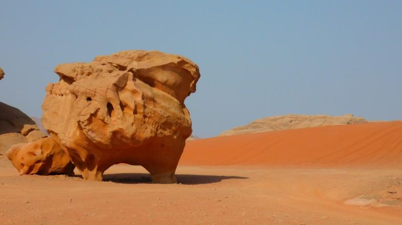 Wadi Rum is a beautiful scenic desert of Jordan with unique sandstones.