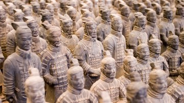 Sculptures of numerous warriors placed in rows